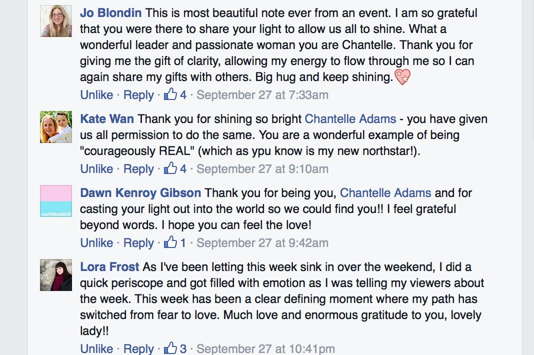 social media comments about Chantelle Adams SHINE Live